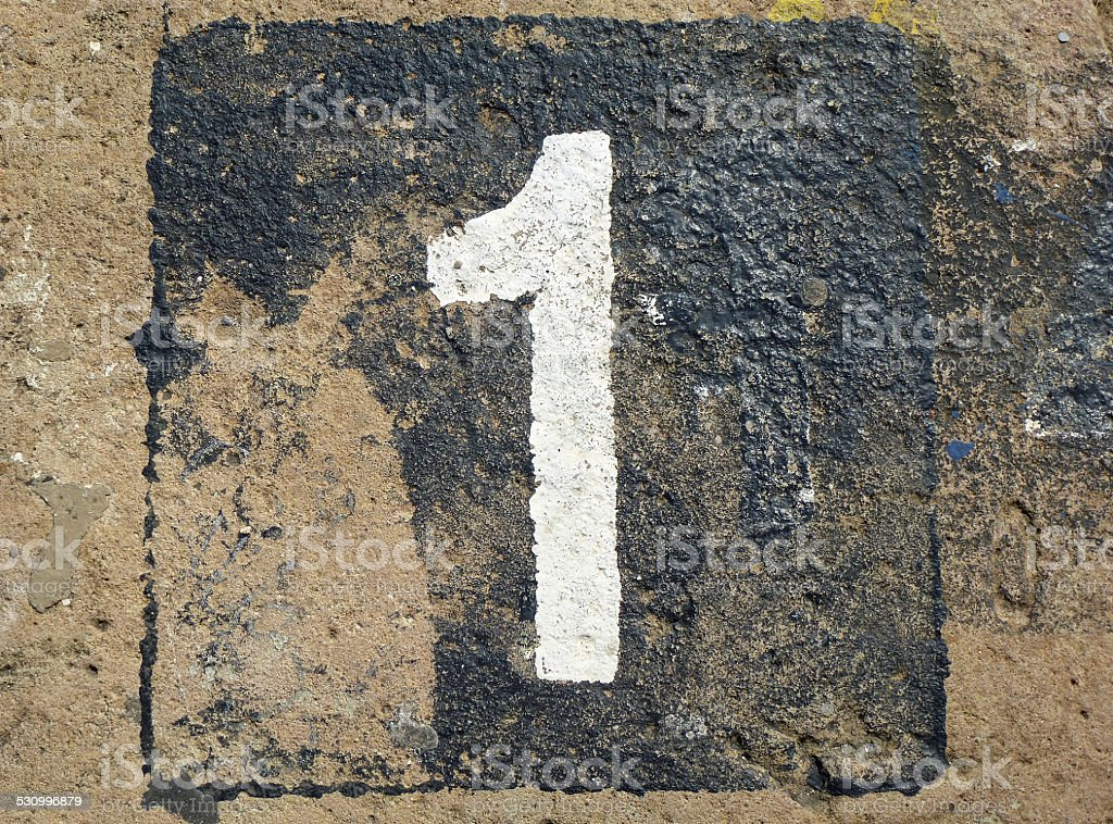 1 - weathered number stock photo