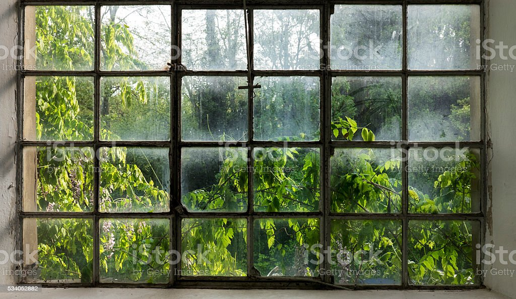 Weathered old window frame stock photo