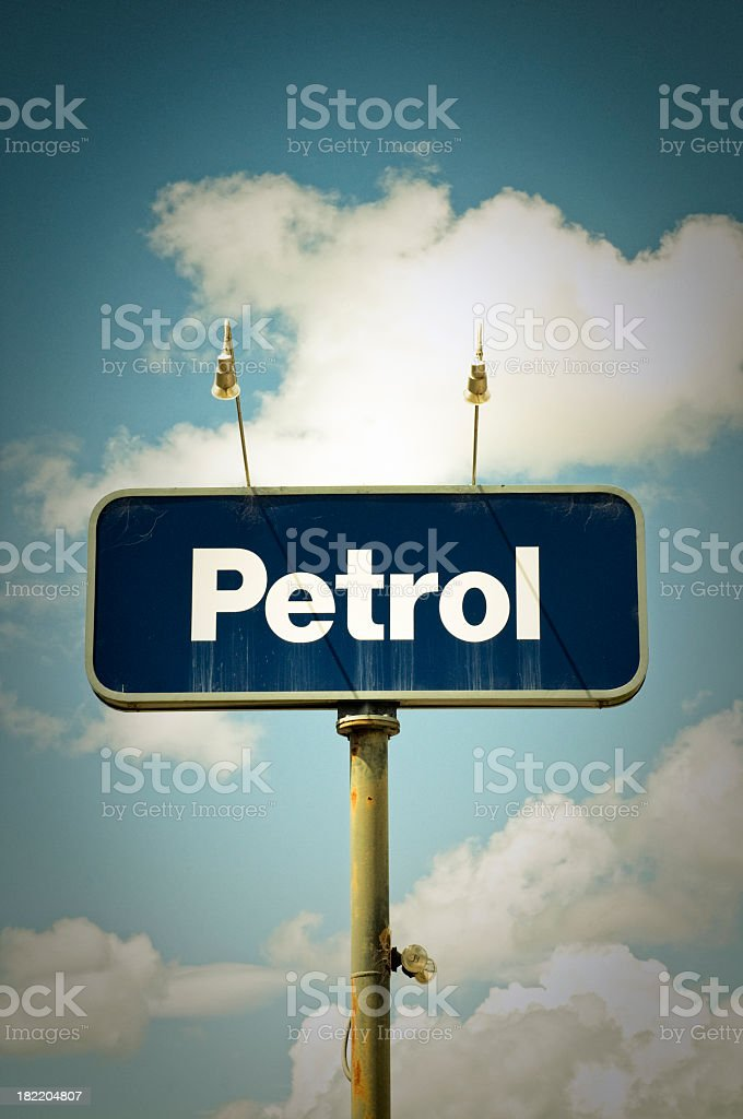 Weathered Petrol Sign royalty-free stock photo