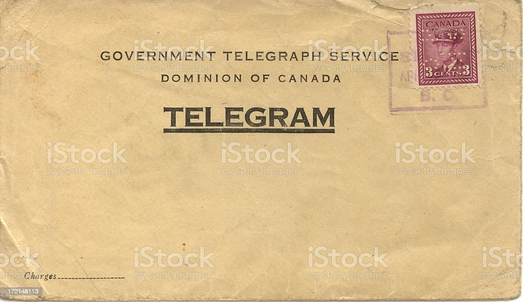 Weathered posted telegram envelope stock photo