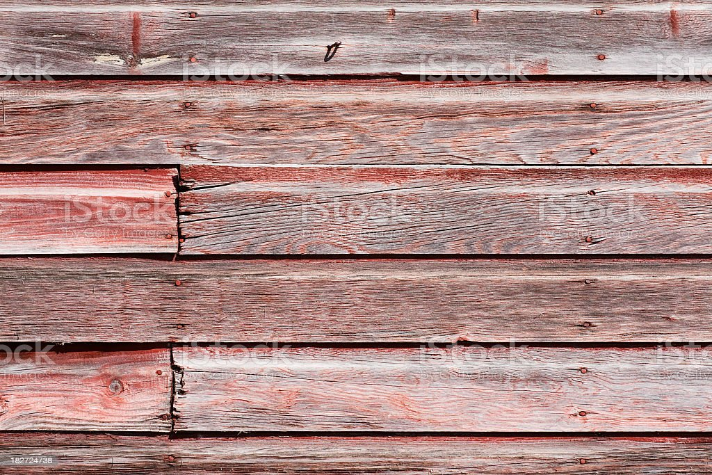 Weathered Red Barnboard Siding stock photo