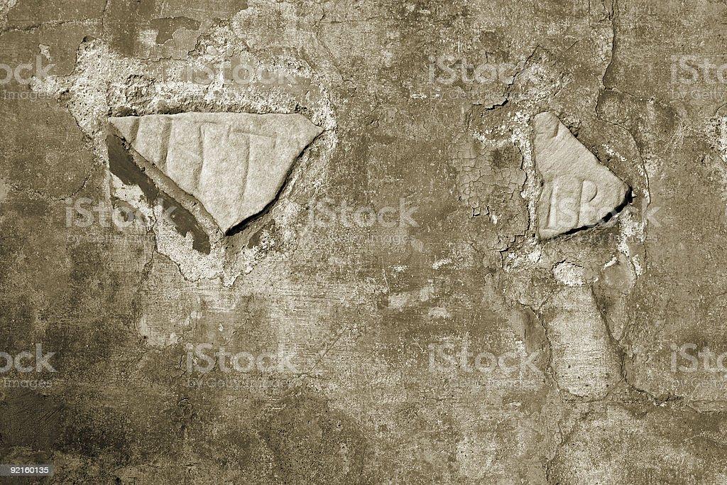 weathered Roman wall royalty-free stock photo