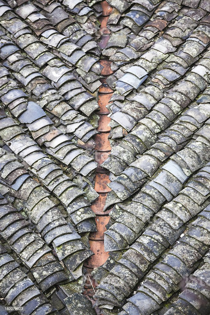 weathered roof royalty-free stock photo