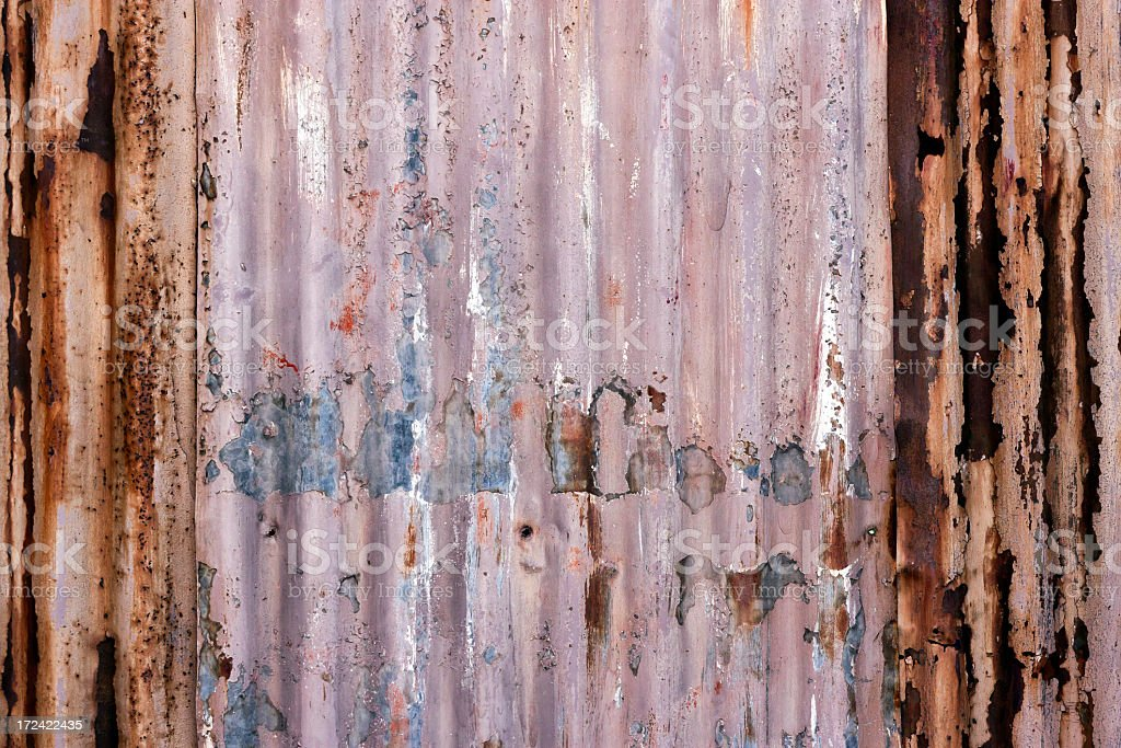 Weathered rusty Corrugated iron wall, copy space royalty-free stock photo