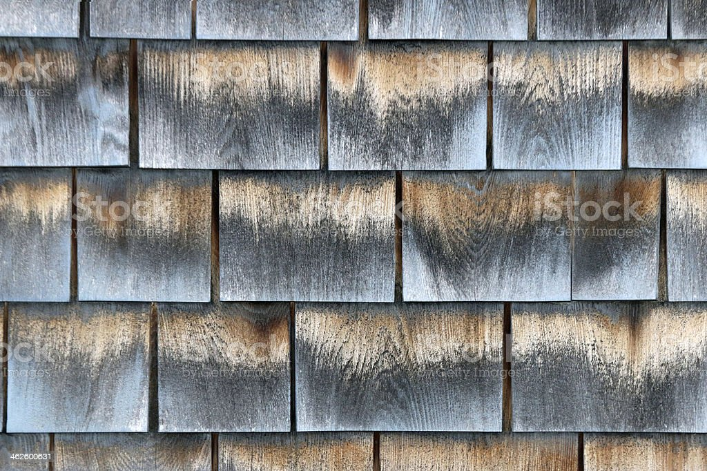 Weathered shingles background - horizontal royalty-free stock photo