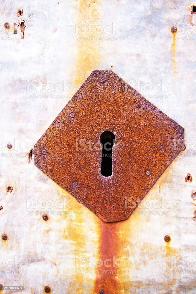Weathered Tin Door with Rusty Antique Keyhole (Close-Up) stock photo