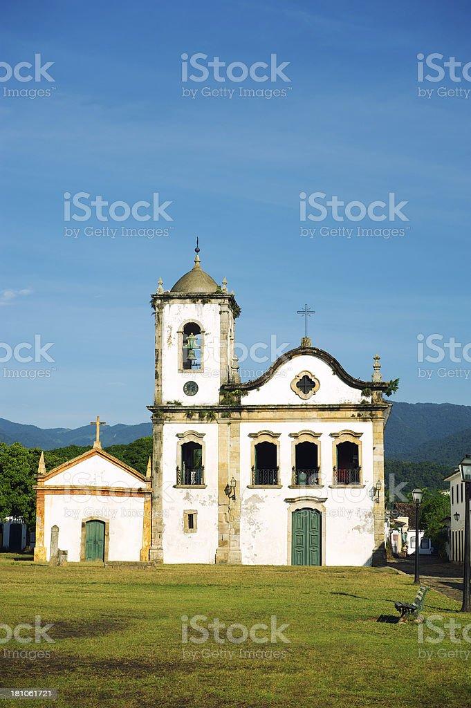 Weathered White Colonial Santa Rita Church Paraty Brazil stock photo
