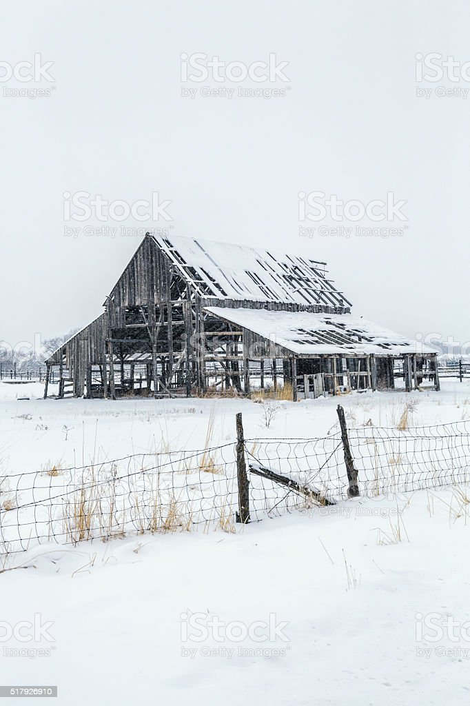 Weathered Winter Abandoned Barn and Barbed Wire Fence stock photo