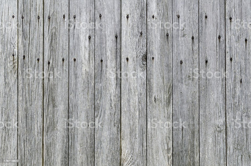 Weathered Wood Plank Barn Siding Background with Rusty Nails. stock photo