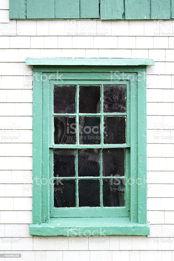 Weathered Wood Shakes And Window On Old Building stock photo