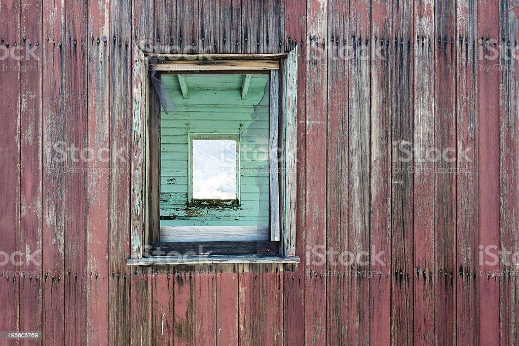 Weathered Wood Wall and Window stock photo