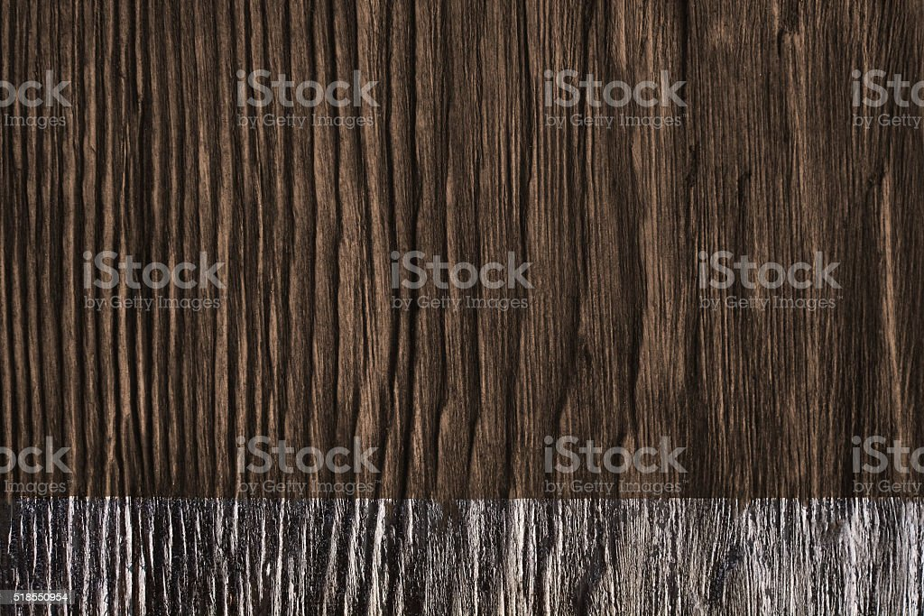 Weathered Wood with silver painting line in the bottom stock photo