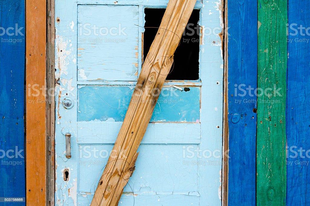 Weathered wooden door stock photo