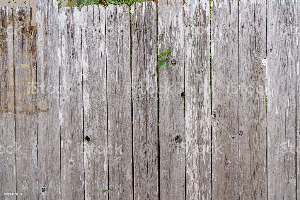 Weathered wooden fence panels background stock photo