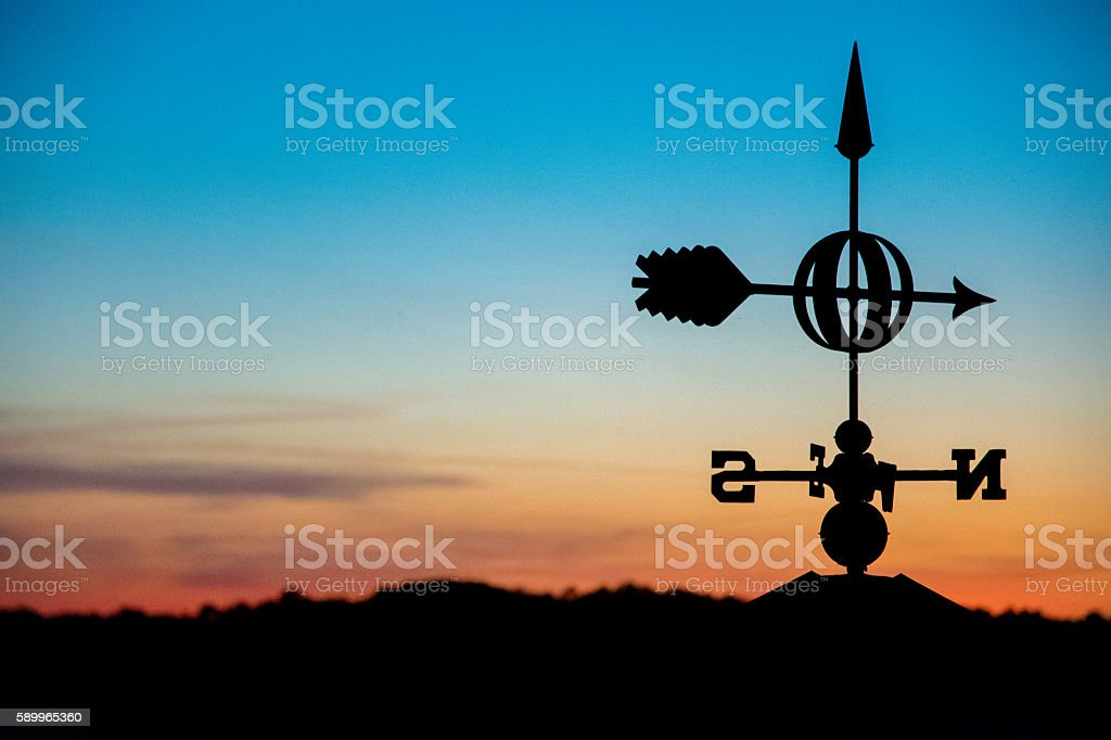 Weathervane in a Sunset stock photo