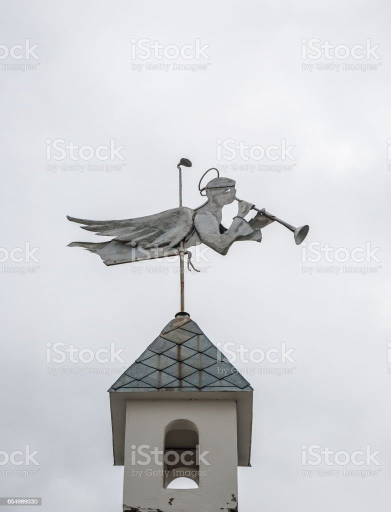 Weathervane in the form of an angel stock photo