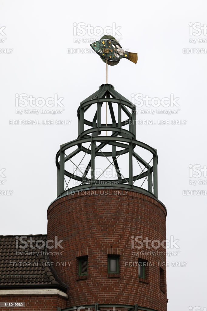 Weathervane on the fish market building in Hamburg, Germany. stock photo