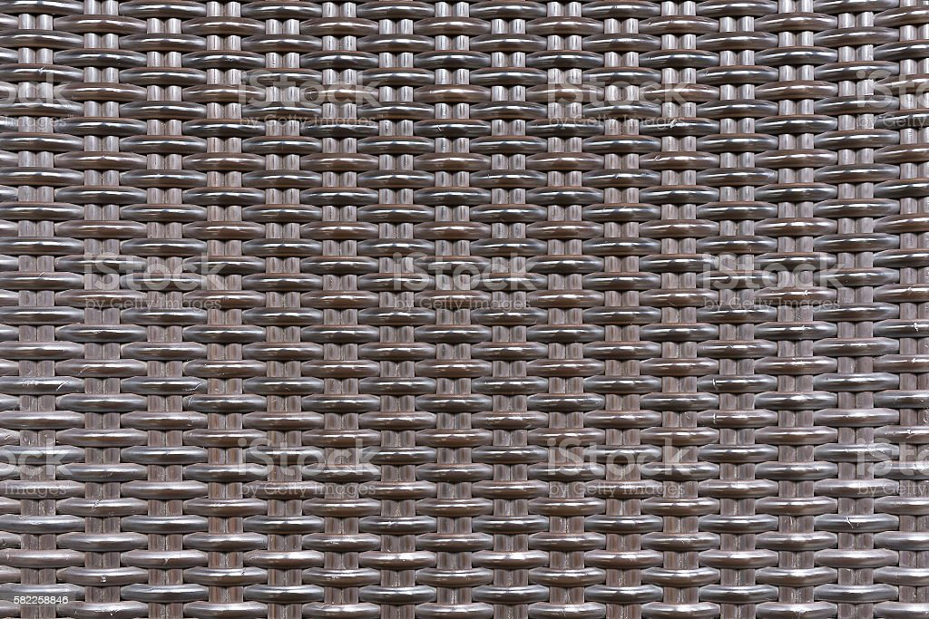 Weave plastic wicker rattan pattern seamless background texture. stock photo