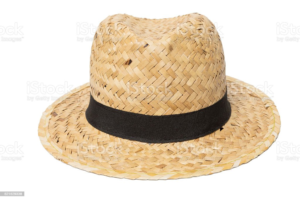 Weaves hat, Handmade Straw Hat Isolated on white stock photo