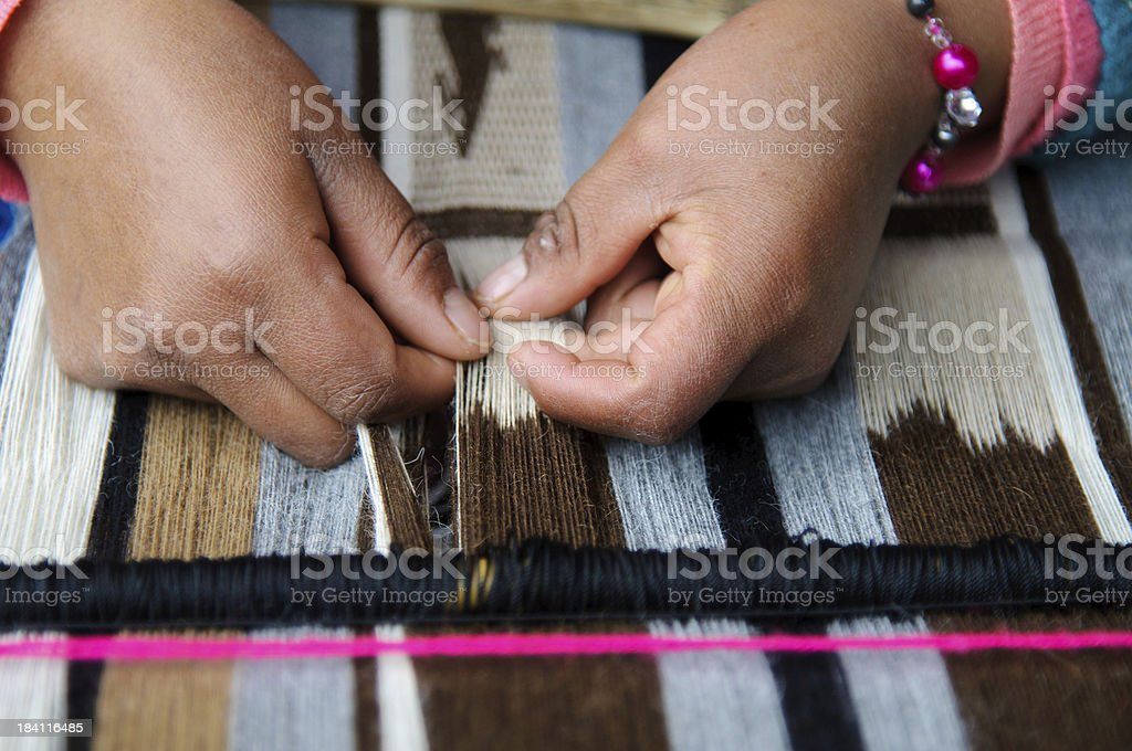 Weaving in Peru royalty-free stock photo