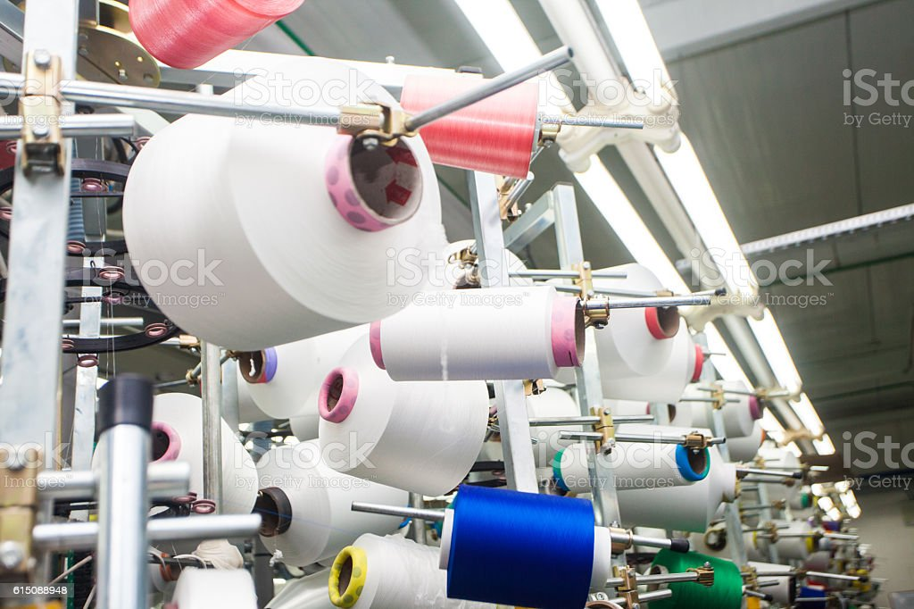weaving machinery for the production of yarn, cloth from cotton royalty-free stock photo