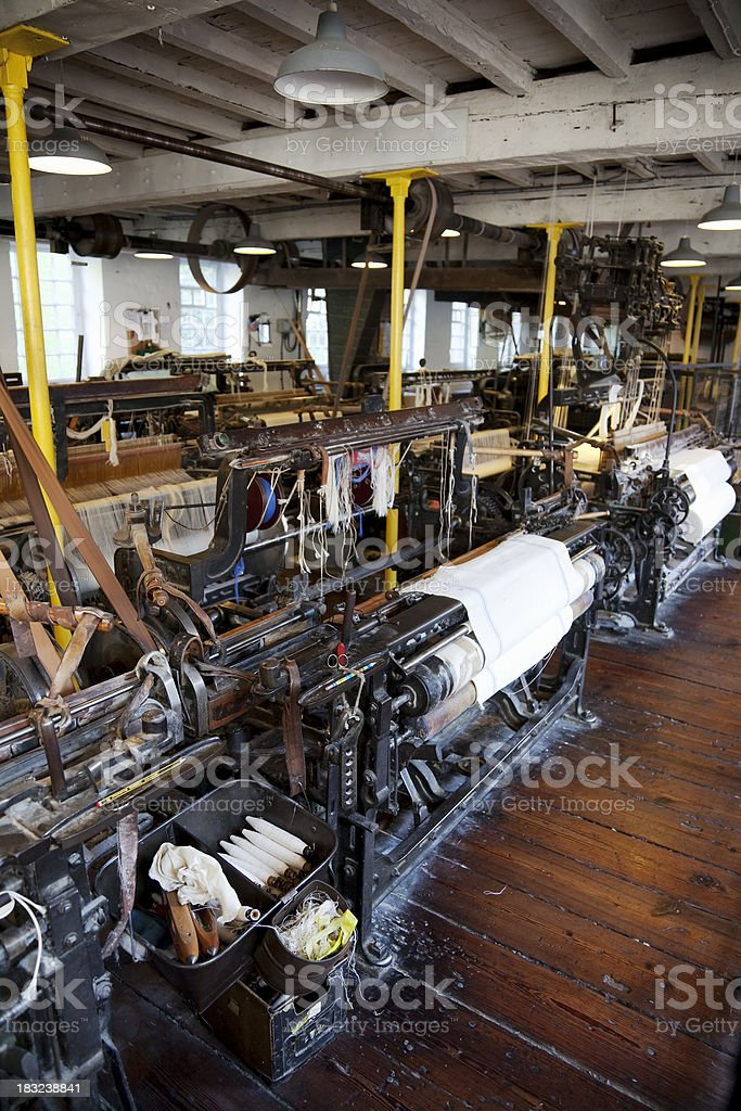 Weaving shed, old cotton mill stock photo
