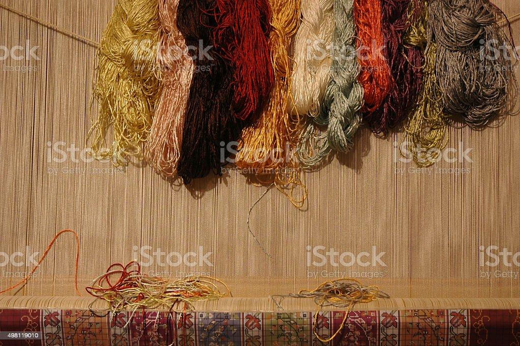 Weaving Silk stock photo