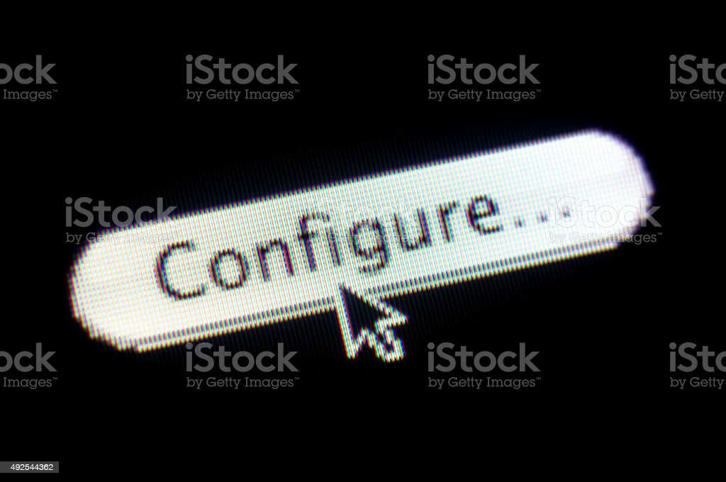 CONFIGURE web button and mouse arrow on computer screen stock photo