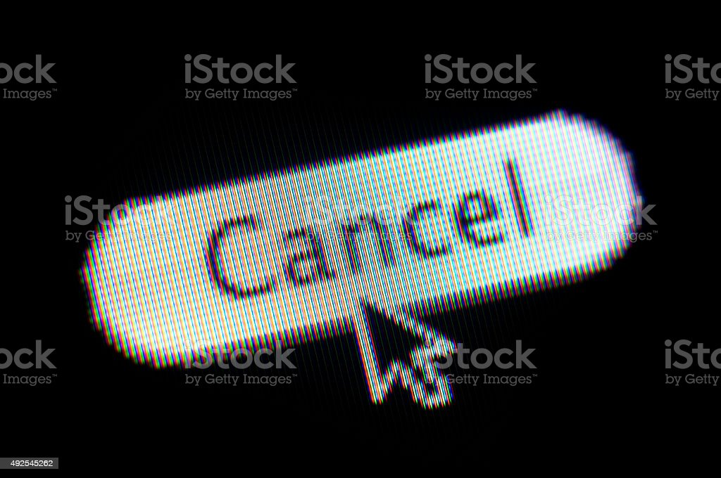 CANCEL web button and mouse arrow on computer screen stock photo