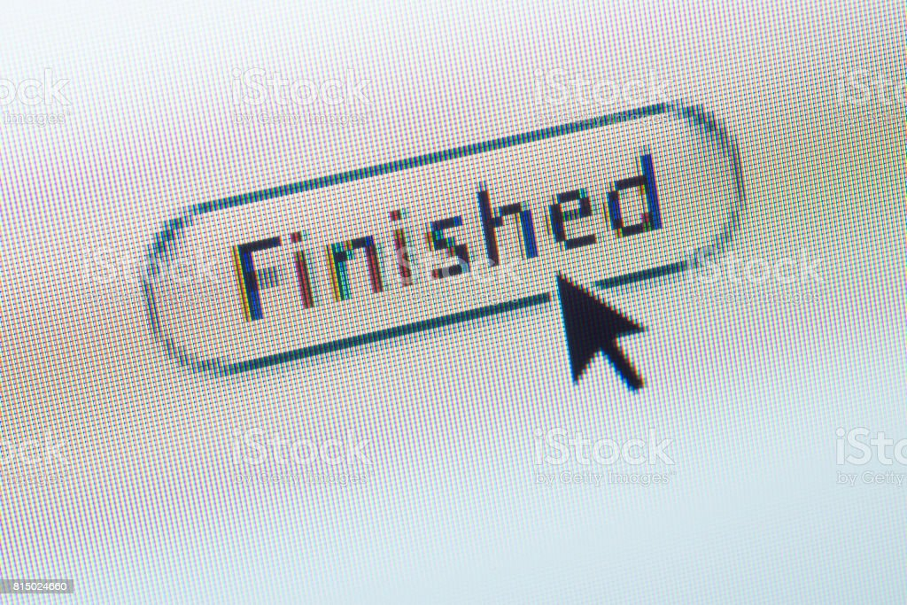 FINISHED web button and mouse arrow on computer screen stock photo