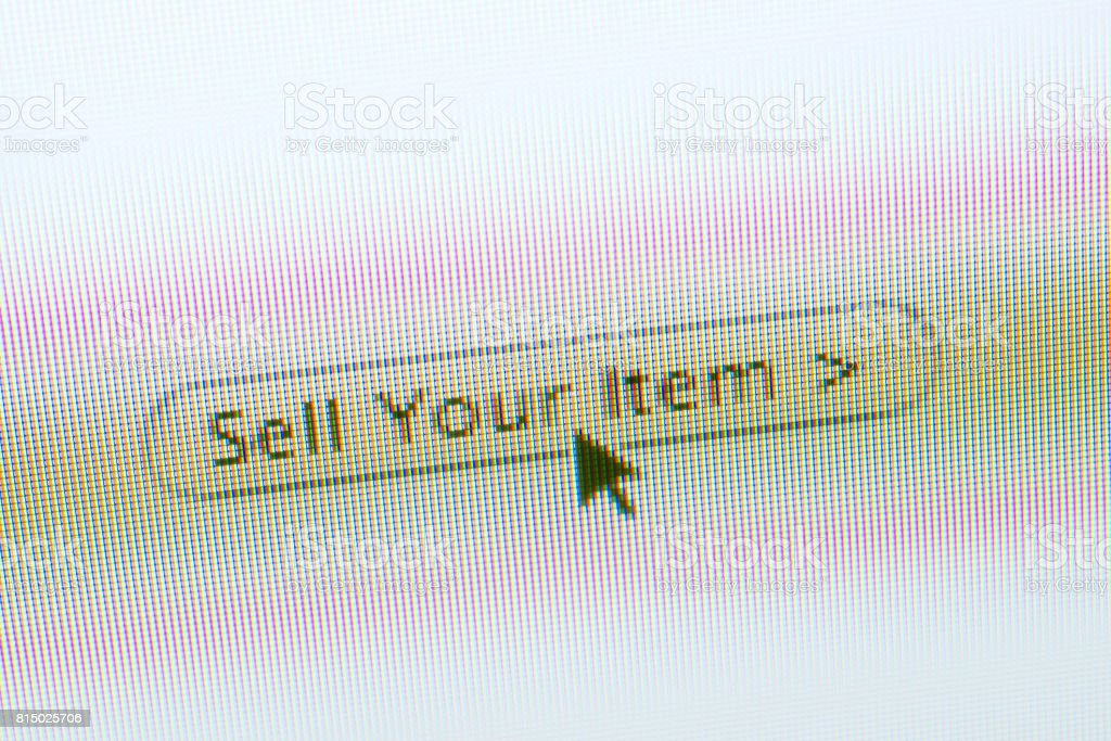 SELL web button and mouse arrow on computer screen stock photo