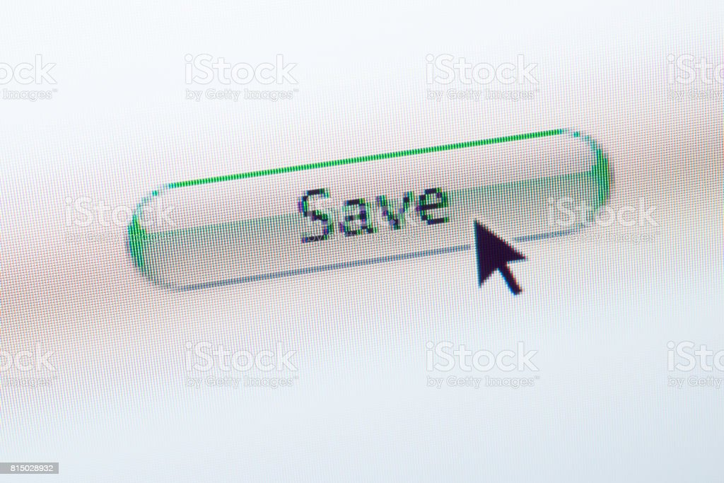 SAVE web button and mouse arrow on computer screen stock photo