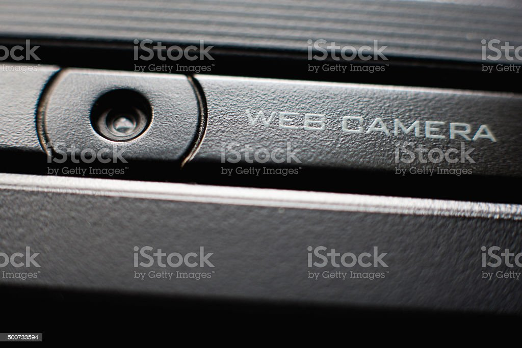 Web camera close up on laptop stock photo
