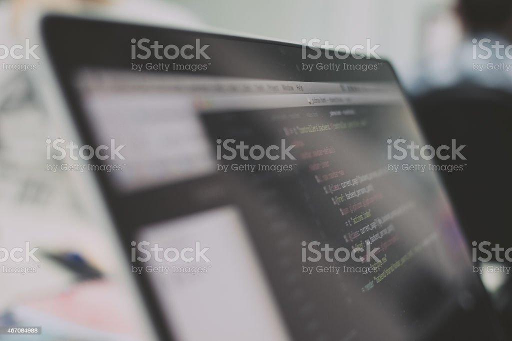 Web coding script stock photo