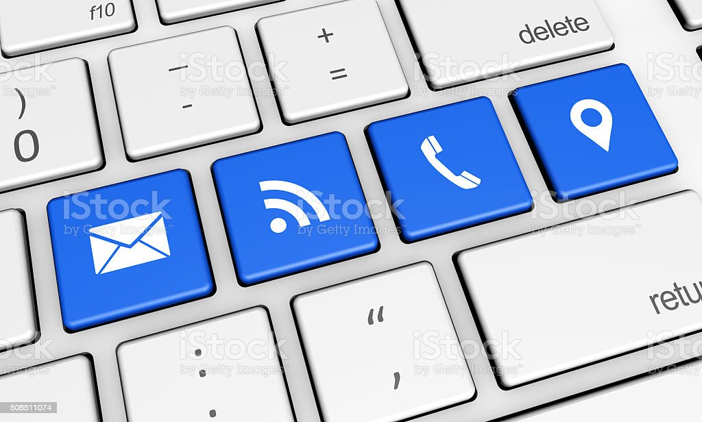 Web Contact Us And Connection Icons stock photo
