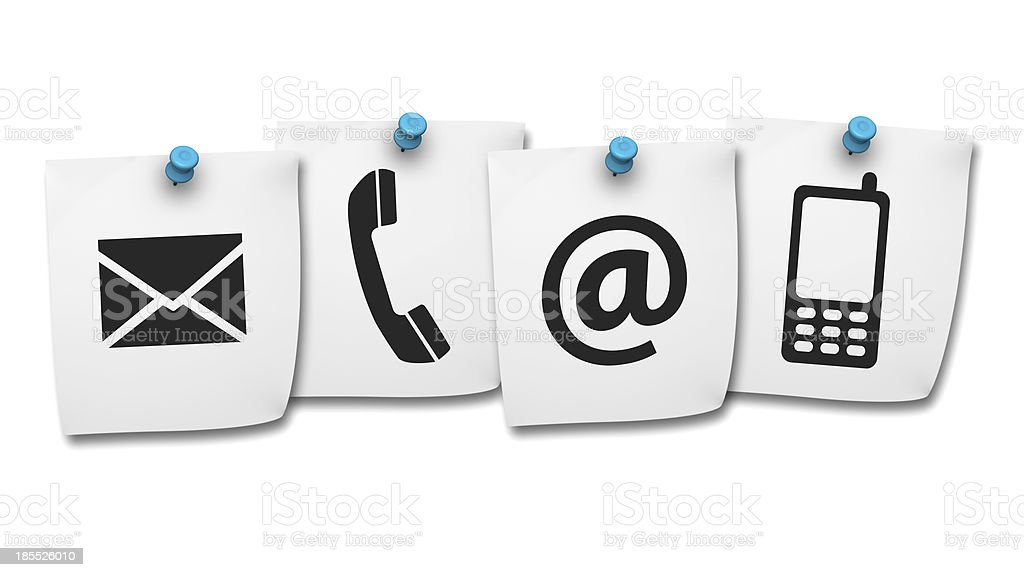 Web Contact Us Icons On Post It royalty-free stock photo