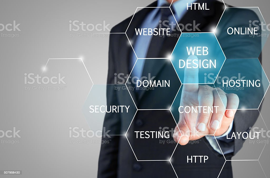 Web Design Concept on touch screen stock photo