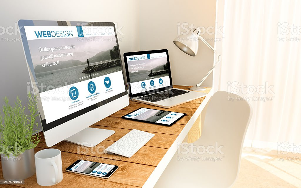Web design in laptop, computer, tablet and smart phone stock photo