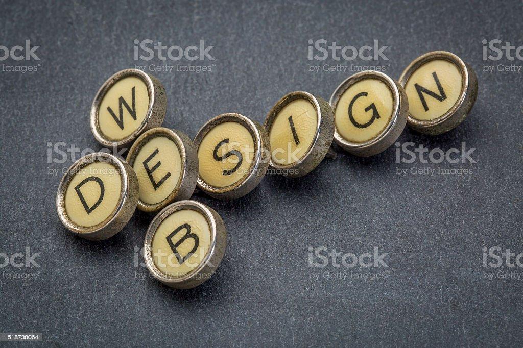 web design in typewriter keys stock photo