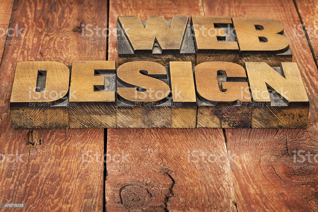 web design in wood type royalty-free stock photo
