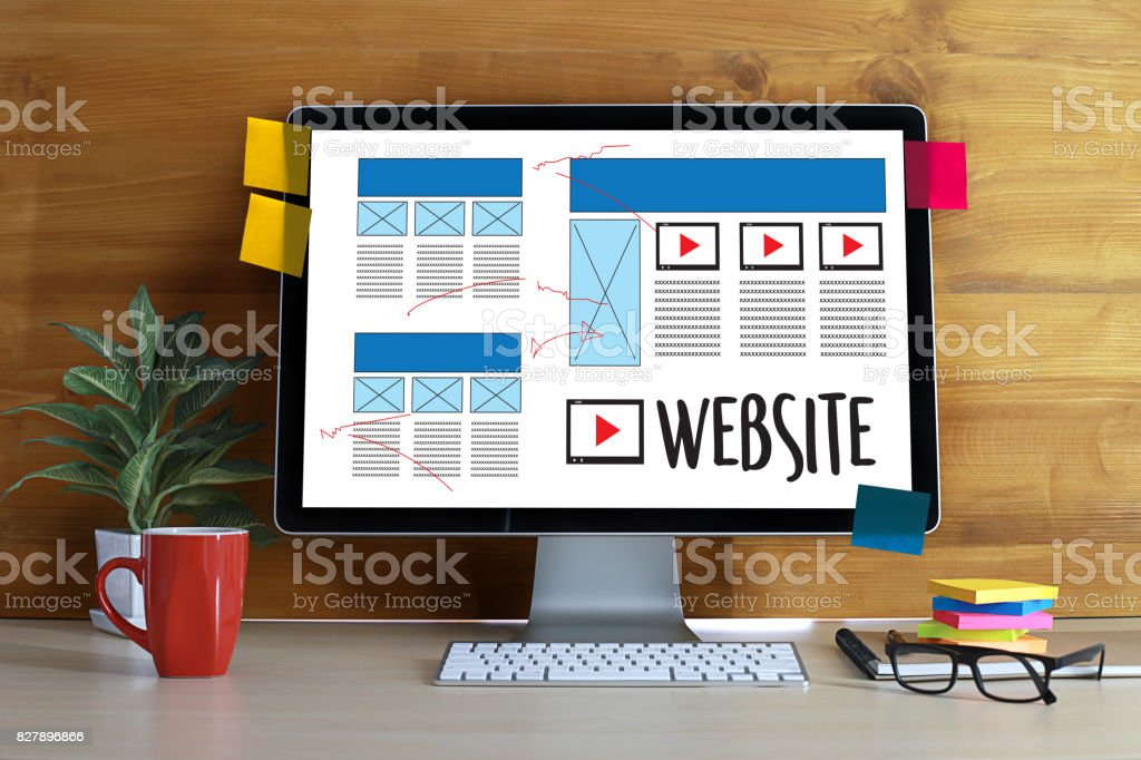 Web Design layout sketch drawing Software Media WWW and Graphic Layout Website development project stock photo
