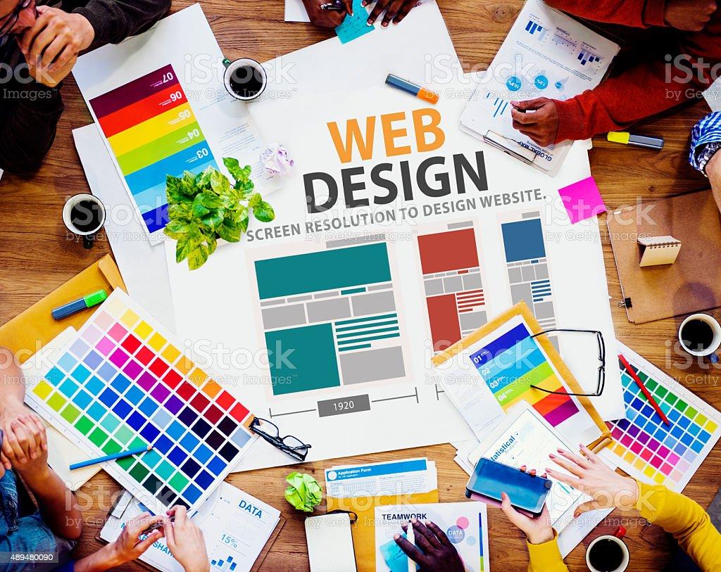 Web Design Network Website Ideas Media Information Concept stock photo