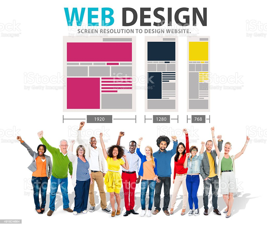 Web Design Network Website Ideas Media Information Concept stock photo