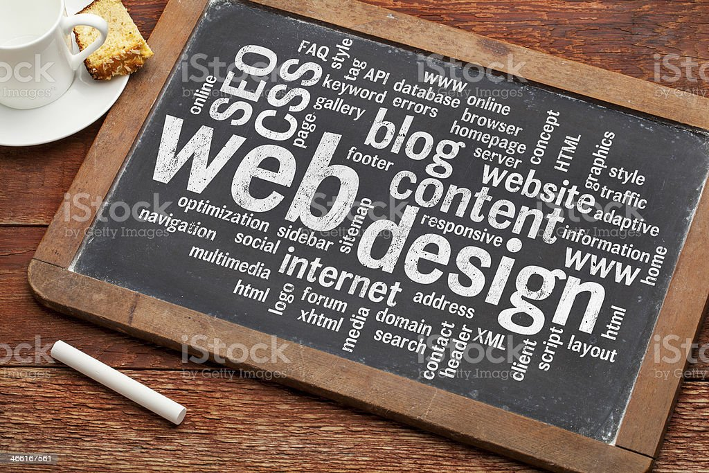 web design word cloud on blackboard stock photo