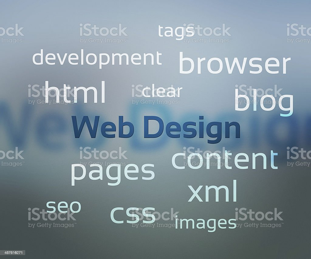 Web design words on gray background royalty-free stock photo
