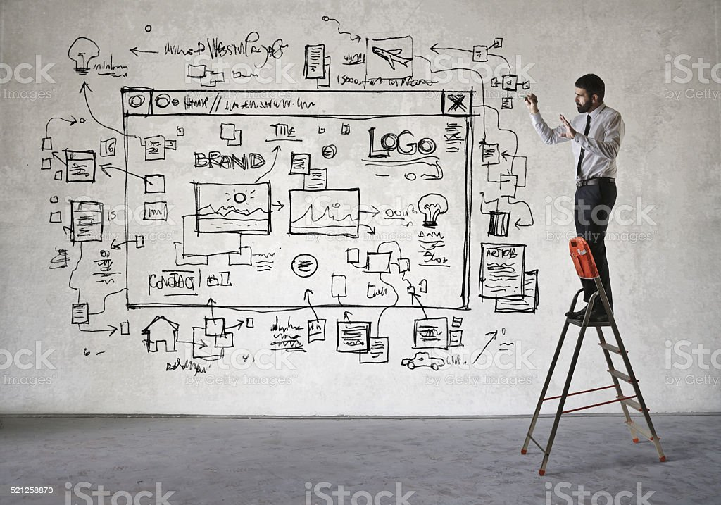 Home Interior, Home Office, Staircase, Steps, Adult. Web Designer At Work  ...