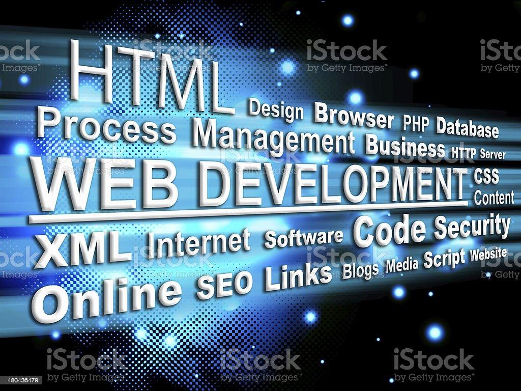 Web development - Word cloud stock photo