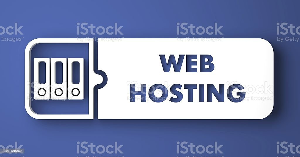 Web Hosting on Blue in Flat Design Style. stock photo