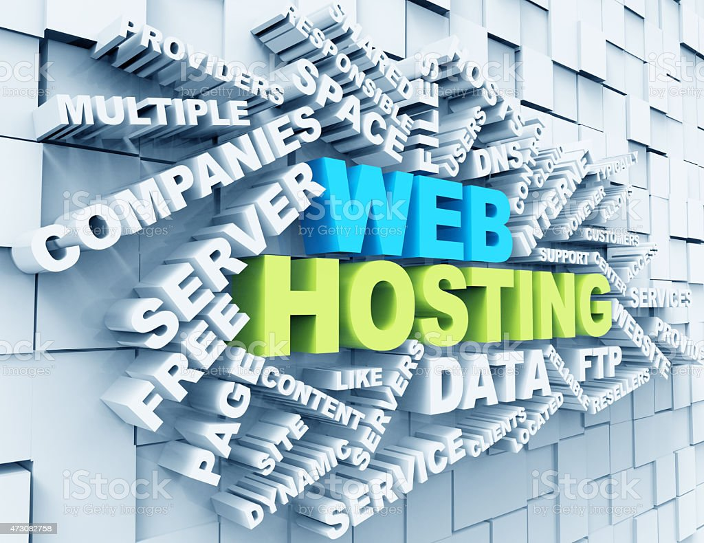 Web Hosting wordclouds stock photo