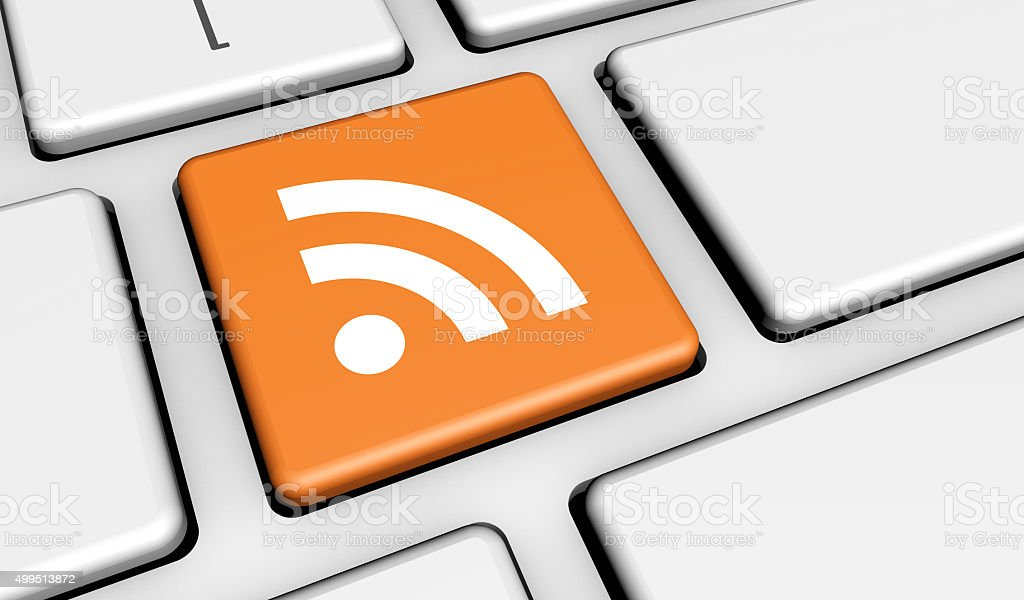 RSS Web Internet News Button stock photo